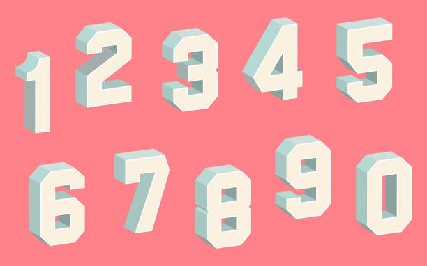 3D Block Numbers on the Light Red Background
